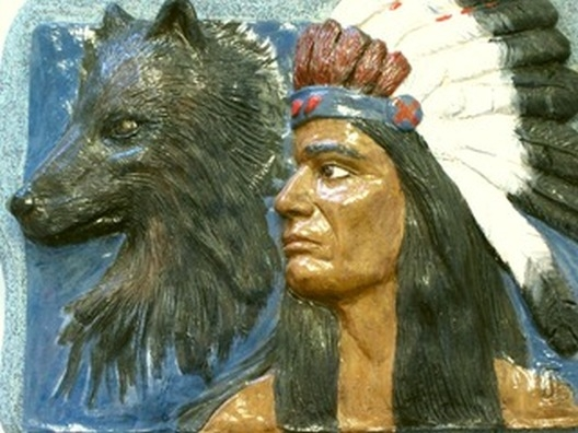 Indian with Wolf